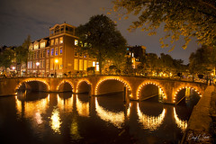 Night Lights Along the Canal (cheryl strahl) Tags: europe amsterdam canals bridges nightlights nightscene