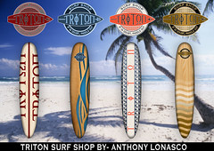 surf board template (anthonylonasco) Tags: surf board beach palm tree logo circle greek font triton quotes template
