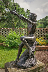 Fishy (dayman1776) Tags: fine art museum bronze sculpture escultura statue nude naked girl brookgreen gardens south carolina fish happy sunny reaching garden wall