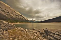 Medicine Lake, Jasper (Rudi Verspoor) Tags: jasper national park canada lake water landscape sky clouds rock rockies alberta wideangle 1020mm d7200 september grey fall autumn exploring