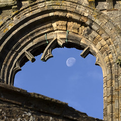 Portal (RagbagPhotography) Tags: standrews fife scotland cathedral harbour moon lunar sky 3rd quarter