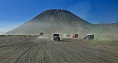 Race to the Volcano (somabiswas) Tags: desert jeep race mount bromo volcanic crater java island indonesia