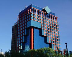 Blue skin shows (Francoise100) Tags: mexico cdmx df building tower downtown architecture glass blue blau bleu squares urban modern lines design geometry angles cuts
