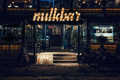 Milkbar at night (Melissa Maples) Tags: turkey türkiye asia 土耳其 apple iphone iphonex cameraphone kemer autumn café restaurant milkbar night evening black dark lights text sign doorway entryway entrance