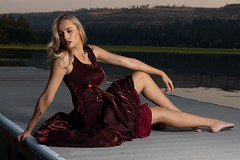 Kailey (austinspace) Tags: woman portrait spokane washington model blond blonde sunset dusk magichour dress dock