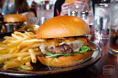 Burger w/ Butternut Squash BBQ, Arugula, Swiss, Jalapeno Crisp - Table 9 (sheryip) Tags: burger food foodporn morgantown wv wvu sher yip table 9 bbq