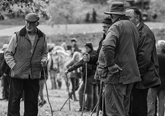 Men with sticks (Frank Fullard) Tags: frankfullard fullard candid street portrait men sticks shillelagh ballinasloe horse fair galway irish ireland storytelling monochrome black white blanc noir country farmer rural heritage history