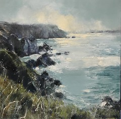 Late Afternoon - Pembrokeshire - oil on canvas 50 x 50 cm (www.sandragraham.co.uk) Tags: artartworkartistartistscontemporaryartcollectorstreambrookburnwaterflowingnaturepaintingartistsimpastopainting artist seas sea seascape landscape contemporary art welsh wales pembrokeshire coast