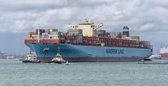MV MAERSK EINDHOVEN (fordgt4040) Tags: mvmaerskeindhoven maerskline vessel ship boat nautical containership merchantvessel underway nikon nikond750 digitalcamera nikkorlens southampton southamptonwater england hampshire denmark