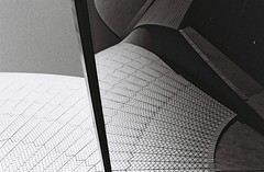 Concrete and Ceramic and Glass and Sky (Christopher Clarkson) Tags: sydney opera house abstract bw film analog 35mm contax reflection minimalism urban