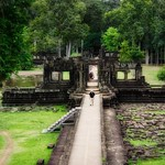 Causeway leading to Baphuon temple ruins in the ancient city of Angkor Thom near Siem Reap, Cambodia thumbnail