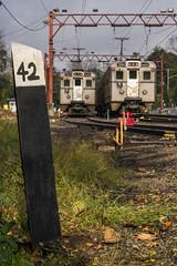 42 Miles to Hoboken (sullivan1985) Tags: delawarelackawannawestern dlw milepost mp42 gladstone yard nj njt njtr njtransit newjerseytransit newjersey arrowiii jerseyarrows pd passaicdelaware morning storm light train railroad railway passenger passengertrain commuter commutertrain