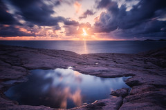 Reflection in water (bjorns_photography) Tags: nature landscape view reflection sunset sunlight sky clouds long exposure photography blue water ocean