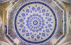 Interior Dome Detail (Mabacam) Tags: 2018 centralasia uzbekistan samarkand thesilkroad traditional patterns design craft art colour dome mausoleum necropolis blue white tiles bluewhite architecture circles arches
