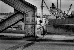 wait 686 (soyokazeojisan) Tags: japan osaka city street bw bridge people blackandwhite monochrome analog olympus m1 om1 film neopanss fujifilm memories 1970s 1975