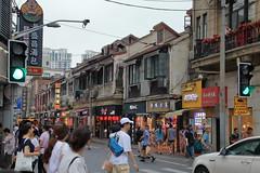 上海 Shanghai (沐均青) Tags: chinese travel summer china people street buildings modern 上海 shanghai bus cars colorful sky cloudy landscape scenery green yellow grey outside vacation town tamron black white commercial market red