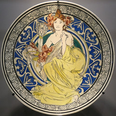 Plate with a woman dressed in yellow - Dessins pour un service de table - Alphonse Mucha, ca. 1900 (Monceau) Tags: alphonsemucha mucha plate woman yellow dress blue pattern dinnerservice squaredcircle squircle 288365 365picturesin2018 365the2018edition 3652018 day288365 15oct18 lilies
