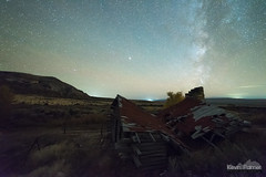 Old Cabin Milky Way (kevin-palmer) Tags: cottonwoodcanyon lovell blm wyoming october fall autumn nikond750 night sky stars space astronomy astrophotography clear evening old log cabin wooden historic collapsed roof sagebrush milkyway dark starry tamr samyang rokinon14mmf28 fence bighornmountains mars