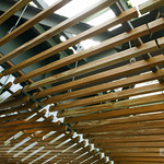 Upward view. How many wooden bars is using...