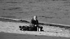 A book on the beach (byronv2) Tags: coast coastal beach portobello river riverforth rnbforth firthofforth forth sea northsea edinburgh edimbourg scotland sand man seat sitting seated coffee flask thermosflask tea book read reading books blackandwhite blackwhite bw monochrome