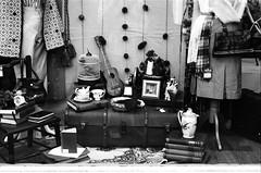 Nottingham. (Esmik D'Aguiar) Tags: shop window street town city suitcase coat birdcage picture ukulele mono ilford nottingham uk books jug rose handbag ilovefilm tea cup