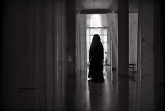 The Black Widow (veronika b phoenix) Tags: widow dark vintage room escape landscape curtains old scary terror horror ghost woman dress conceptual art artist story nikon shadows light oscuridad surrealismo