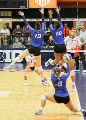 With a view to a kill (RPahre) Tags: universityofillinois champaign illinois huffhall huff volleyball creighton creightonuniversity kill block jacquelinequade samanthabonet