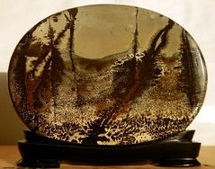 strikingly shaded Picture Siltstone, Guangxi China (subarcticmike) Tags: subarcticmike geology polished specimen specialty stone decorative picture siltstone collectible natural nature trees forest prehistoricswamp prehistoric manganese ironoxides hydrocarbons orogeny oilfield 6ws sixwordstory organic
