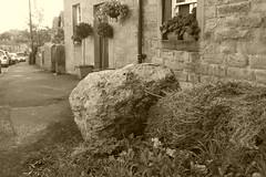 Fallen meteor,  Pilsley, Derbyshire (dave_attrill) Tags: pilsley peakdistrict derbyshire village september 2018 meteor fallen cottages street monochrome sepia