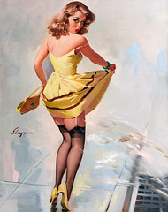 Dampened Doll by Gil Elvgren, 1967 (gameraboy) Tags: gilelvgren pinup pinupart illustration painting vintage woman sexy dampeneddoll 1960s stockings thighhighs nylons 1967