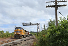 The shared trackage (GLC 392) Tags: search light signal signals code line shared trackage ge c449w dash 9 cn canadian national union pacific 2630 l539 l540 mi michigan jct junction mill rock cut trees train 9633 local ishpeming up negaunee locomotive tree railroad forest sky grass wood car bush over grown