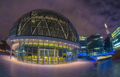 someone told me i have a warped view of the world (Wizard CG) Tags: tags london tower bridge city hall europe uk cityscape england architecture modern urban wide angle outdoor fisheye long exposure epl7 hdr samyang fish eye olympus great britain gb night shot nocturnal united kingdom water building tree road
