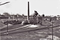 Canadian Pacific Railway, Ottawa Depot 1964. (ManOfYorkshire) Tags: ottawa canada 1964 1960s traction maintenance depot shed mpd workshop track layout chimney stack diesels cpr canadianpacificrailway trains train railway bw blackwhite photograph history nostalgia