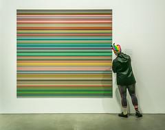 A Richter Fan (trebandicoot (Lynn)) Tags: art stripes echo fan people socks fashion rainbow colour goma brisbane australia gallery admiration artwork headwear richter street urban