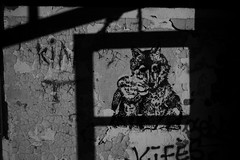 endless feeling (Alexandre Dulaunoy) Tags: streetart urbex arlon belgium belgique stencil noiretblanc noirblanc bw wall mur frame framing nb
