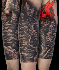 Pine Trees Ridge Mountain Branch Realistic Real 3D Black and Grey Sleeve Tattoo by Jackie Rabbit