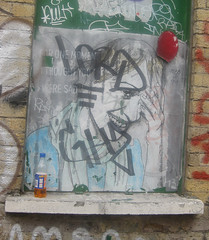 For one moment I thought you were sad (Niecieden) Tags: 2010 july london spitalfields canondigitalixus90is graffiti pasteup girl