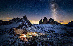 Buonanotte Tre Cime (One_Penny) Tags: italy canon6d dolomites landscape milkyway mountains mountainscape night photography trecime dreizinnen threepeaks trecimedilavaredo paternkofel montepaterno rifugioantoniolocatelli rifugio southtyrol südtirol house light astrophotography nightscape notte sky stars peak snow rocks italia hiking