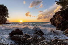 Stormy Sunset (Paralex photography) Tags: sunset sunshine sunrise sky orange color blue pretty sun red clouds sea adriatica adriaticsea montenegro crnagora view nature sunny beautiful storm horizon amazing rocks beach ocean rock water landscape