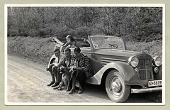 """Steyr 530 Cabriolet (Vintage Cars & People) Tags: vintage classic black white """"blackwhite"""" sw photo foto photography automobile car cars motor steyr steyr530 gläser cabriolet convertible lady girl woman man fellow chap guy couples friends 1930s 30s thirties fashion suit tie skirt coat checkers dog pet boxer"""
