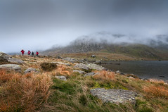 A walk in the park (Einir Wyn Leigh) Tags: landscape mountains walking rural outside outdoors colorful nikon clouds atmosphere october mist weather seasonal enjoy friends hiking snowdonia wales uk britain rugged sky water lake rocks explore walk