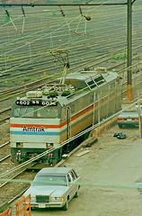 Amtrak E60C Locomotives 602, Sunnyside Yard, NYC (3 of 4) (gg1electrice60) Tags: electriclocomotive manufacturedbygeneralelectric generalelectric ge e60c passengerlocomotive catenary pantograph sunnysiderailyard sunnysidecoachyard sunnysideyard coachyard 43rdstreet 43rdst fortythirdstreet fortythirdst longislandcity sunnysidequeens queens queenscounty boroughofqueens newyorkcity nyc newyorkstate newyork nearharoldinterlocking longislandcityny11101 amtrak unitedstates usa us minoltamaxxim5000slrcamera minoltafilmcamera 35mmsinglelensreflexcamera filmcamera colorprintfilm amtrake60number602 amtrake60no602 amyrake60602