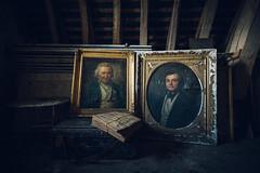 • Stray souls (Woven Eye) Tags: iveseenthatfacebefore ancestors attic oldportrait ornategoldframe 18thcentury portraitgallery 18thcenturyportraiture abandoned abandonedcastle
