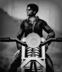The Motorcycle Photo (Loegan Magic) Tags: secondlife motorcycle male pose desert leatherjacket jeans deadwool blackandwhite vintage