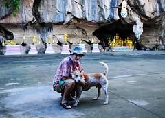 ,, Mr Jon & Mr DJ ,, (Jon in Thailand) Tags: dog k9 mrdj mrjon jungle junglecave nikon d300 nikkor 175528 themonkeytemple buddhastatue buddhastatues goldenbells giantchicken red blue pink purple golden green orange bangkaewdog junglejournalist booniehat yellow dogtail dogears gooddog dogeyes oldman goodfriends hooliganturf bigdog