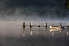 Tranquil (moniquerebanks) Tags: atmosfeer atmosphere steiger tranquil peaceful meeuwen gulls ullswater peacefull dawn reflections dinghy lake meer see steam vapour nikon7100 lakedistrict merengebied cumbria uk nationalpark worldheritage evaporationfog mist nature sunrise zonsopgang sonnenaufgang pier luckyme unesco