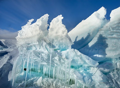 Folded Ice in Antarctica (Trey Ratcliff) Tags: antarctica ratcliff stuckincustomscom trey treyratcliff ice snow sky blue icicle crack break fold white water
