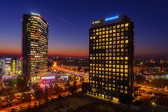 Aviatiei (Adrian Mitu) Tags: city cityscape bucharest bucuresti buidings architecture night blue hour sunset urban nightphotography lighttrails airplane