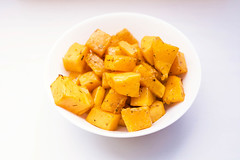 Roasted butternut squash with dried herbs in white bowl on white background (marcoverch) Tags: view autumn bowl herbs pumpkin dish squash background roast baked diet healthy diced vegetarian butternut vegetable orange cooked top white roasted nutrition isolated yellow food organic