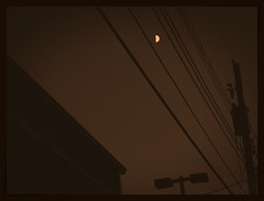 Half Moon Fever (Dimi Sahn) Tags: lines sky architecture barn building windiw monochrome moon lunar halfmoon